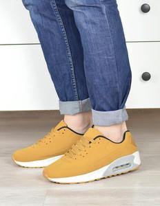 Żółte buty sportowe Damle sznurowane