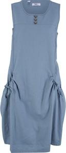 Niebieska sukienka bonprix bpc bonprix collection z lnu bez rękawów w stylu casual