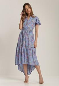 Niebieska sukienka Renee midi z krótkim rękawem rozkloszowana