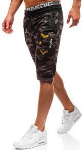 Krótkie spodenki dresowe męskie moro-khaki denley hl8557