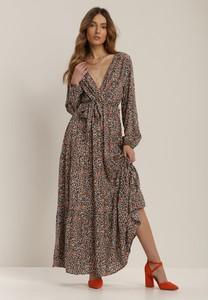 Sukienka Renee maxi z dekoltem w kształcie litery v z długim rękawem