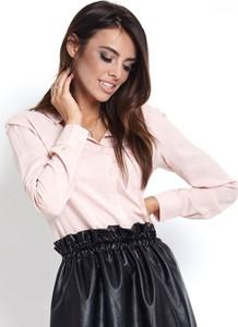 Różowa koszula Ivon z długim rękawem z bawełny