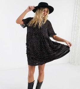 Topshop Maternity – Czarna sukienka mini w drobny wzór-Czarny