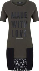 Brązowy t-shirt Liu Jo Sport z krótkim rękawem z bawełny
