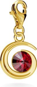 GIORRE SREBRNY CHARMS KSIĘŻYC SWAROVSKI RIVOLI 925 : Kolor kryształu SWAROVSKI - Siam, Kolor pokrycia srebra - Pokrycie Żółtym 24K Złotem