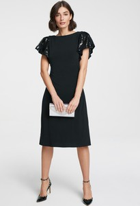 Czarna sukienka Heine z krótkim rękawem z okrągłym dekoltem