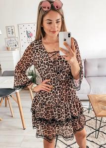 Brązowa sukienka FidoStyle z szyfonu z długim rękawem
