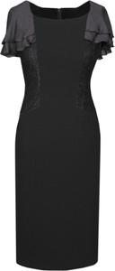 Czarna sukienka Fokus z okrągłym dekoltem ołówkowa