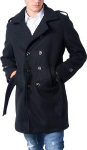 Czarny płaszcz męski Jack Jones z bawełny