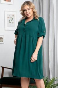 Zielona sukienka KARKO mini dla puszystych z długim rękawem