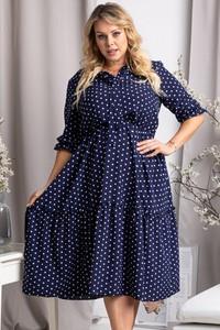 Niebieska sukienka KARKO z tkaniny hiszpanka w stylu casual