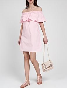 Różowa sukienka Gate hiszpanka z krótkim rękawem z odkrytymi ramionami