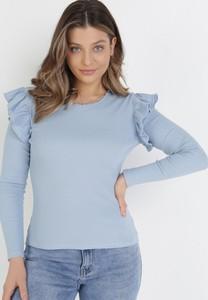 Niebieska bluzka born2be z okrągłym dekoltem w stylu casual
