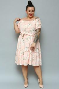 Różowa sukienka KARKO midi hiszpanka z tkaniny