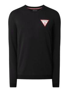 Czarna bluza Guess z nadrukiem z bawełny