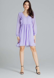 Sukienka Figl z długim rękawem mini z szyfonu