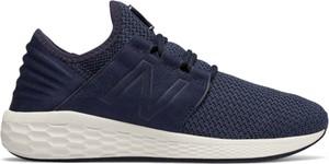 Niebieskie buty sportowe New Balance z nubuku sznurowane
