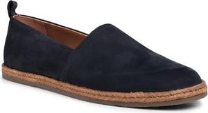 Granatowe buty letnie męskie Gino Rossi z tkaniny