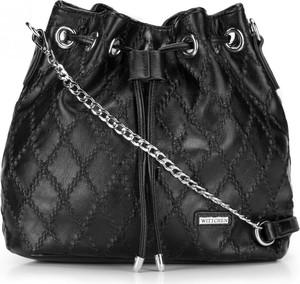 Czarna torebka Wittchen w stylu glamour ze skóry ekologicznej