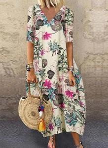 Sukienka Cikelly z dekoltem w kształcie litery v z długim rękawem koszulowa