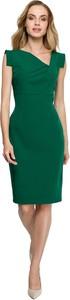 Zielona sukienka Style midi z dekoltem w kształcie litery v ołówkowa