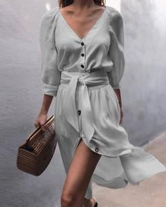 Sukienka Kendallme z dekoltem w kształcie litery v w stylu casual z długim rękawem