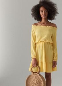 Żółta sukienka Mohito z długim rękawem