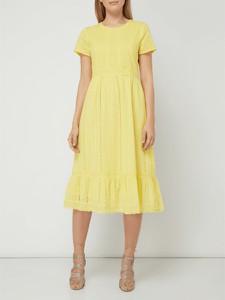 Żółta sukienka S.Oliver Red Label z bawełny z okrągłym dekoltem midi