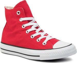 Czerwone trampki Converse sznurowane z płaską podeszwą