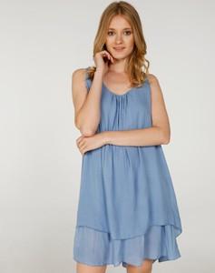 Niebieska sukienka Unisono na ramiączkach mini