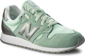 Zielone buty sportowe new balance bez wzorów ze skóry
