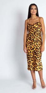 Brązowa sukienka Dursi na ramiączkach midi