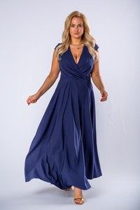Niebieska sukienka Moda Dla Ciebie maxi z dekoltem w kształcie litery v