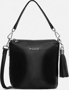 Czarna torebka Kazar ze skóry matowa na ramię