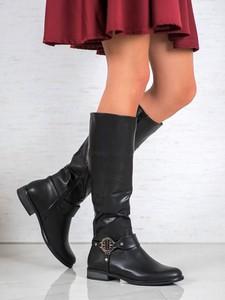 Czarne kozaki Gogo z płaską podeszwą w stylu casual przed kolano