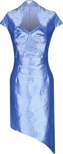 Sukienka Fokus z szyfonu z dekoltem w kształcie litery v z krótkim rękawem