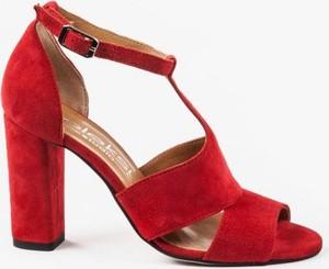 161e16f3 Czerwone sandały Oleksy na wysokim obcasie z zamszu