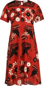 Sukienka Red Valentino midi z krótkim rękawem z okrągłym dekoltem
