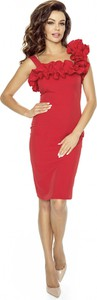 Sukienka Kartes-moda z tkaniny z dekoltem w karo asymetryczna