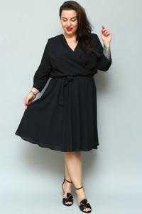 Czarna sukienka KARKO midi z długim rękawem