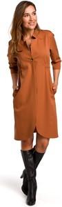Brązowa sukienka Merg koszulowa w stylu casual midi