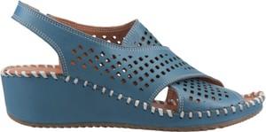 Niebieskie sandały Artiker na średnim obcasie ze skóry