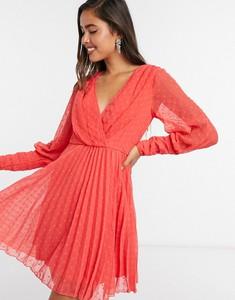 Czerwona sukienka Asos z długim rękawem mini