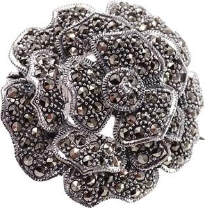 Braccatta ROSSI Srebrna broszka z markazytami róża okrągła duża