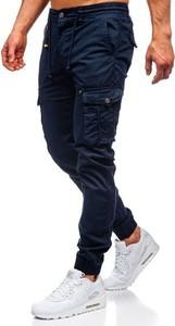 Granatowe spodnie Denley z bawełny