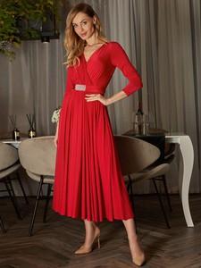 Sukienka L'AF z tkaniny maxi z długim rękawem