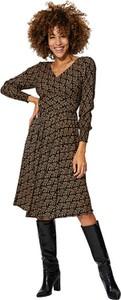 Brązowa sukienka Aller Simplement z długim rękawem z dekoltem w kształcie litery v midi