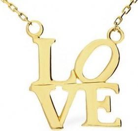 Lovrin Złoty naszyjnik 333 napis love miłość