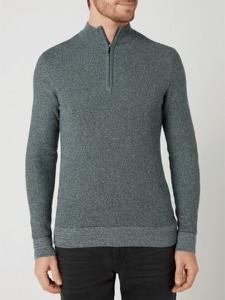 Zielony sweter Tom Tailor w stylu casual z bawełny ze stójką
