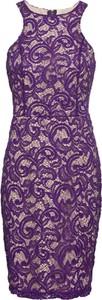 Fioletowa sukienka bonprix BODYFLIRT boutique midi bez rękawów z okrągłym dekoltem